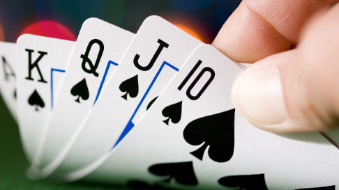Stock Playing Cards with Poker Hand