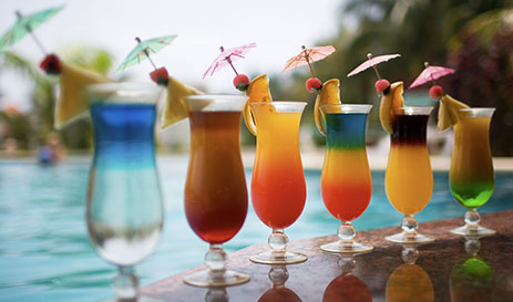 Assorted Fruit Cocktails Poolside