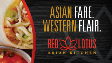 "Asian noodle dish to left of words reading ""Asian Fare. Western Flair. Red Lotus Asian Kitchen."""